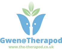 Gwen at the Therapod Logo